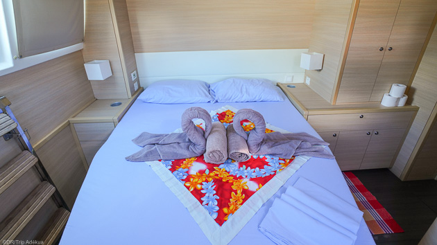 Chambre confortable et équipements derniers cris pour votre catamaran